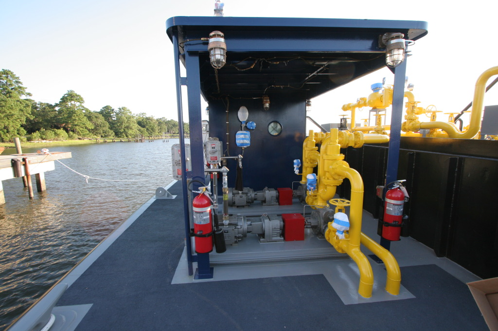 NYCDOT Barge No. 6 External Cargo Pump Skids on Deck After Re-Design