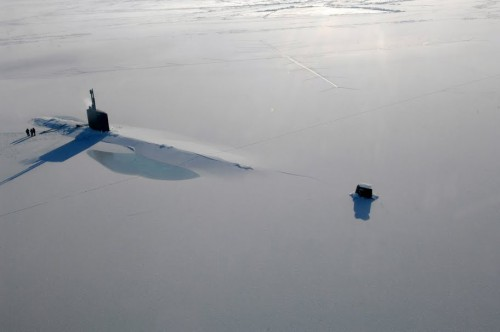 SSN760 USS Annapolis Surfaced Through Polar Ice