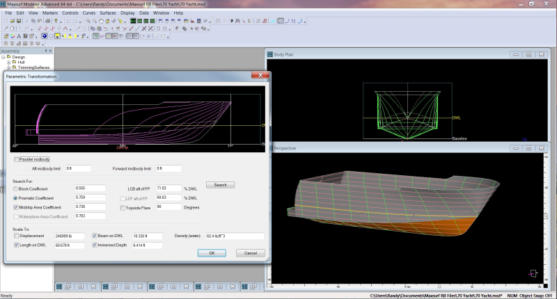 Maxsurf Parametric Transformation for Yacht Design