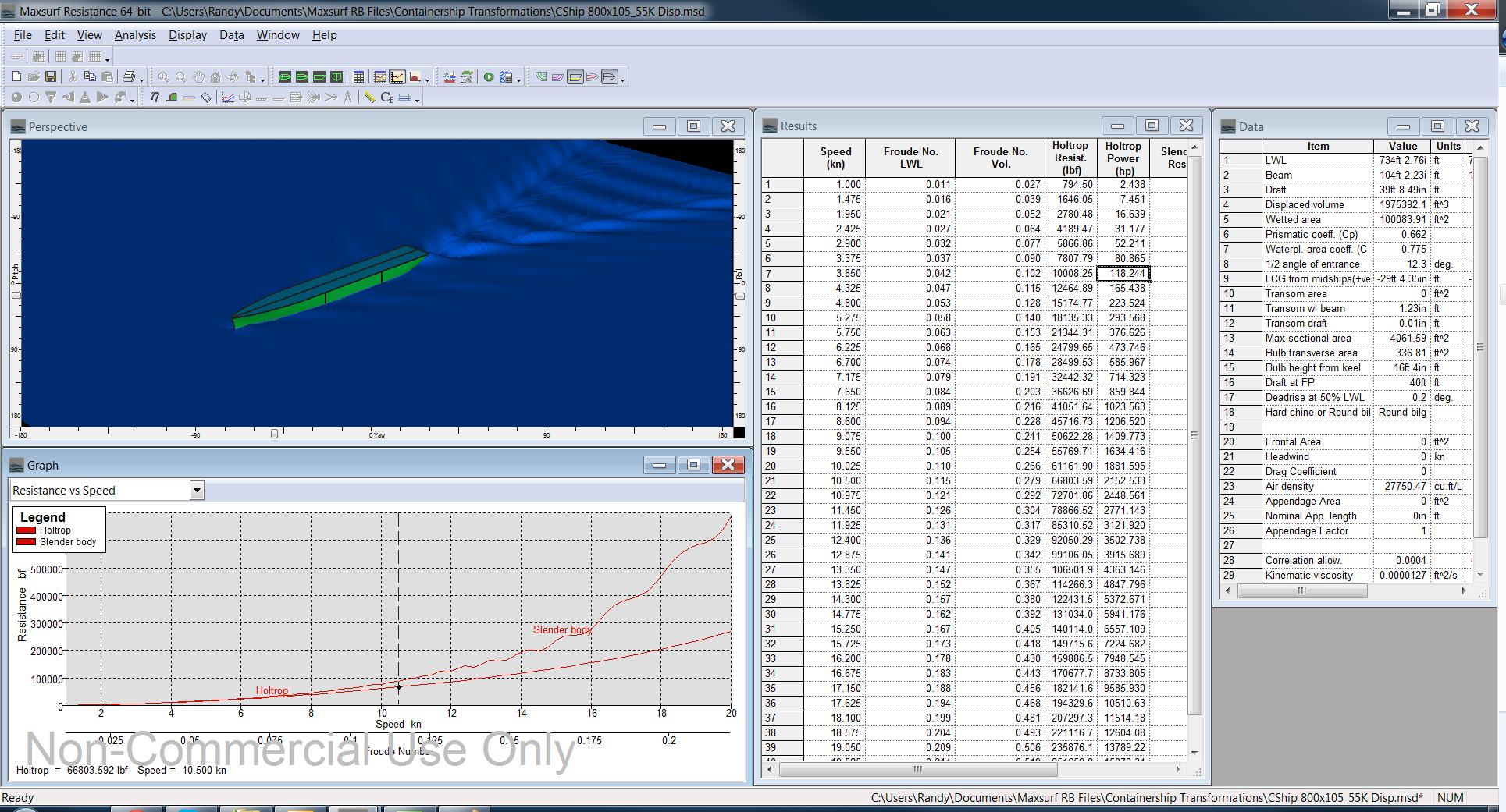Maxsurf Resistance Screenshot 55K Containership